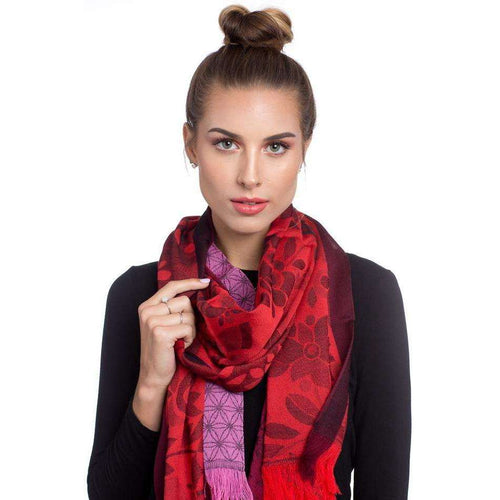 Merino Wool and Silk Rectangle Scarf & Shawl - Red & Pink