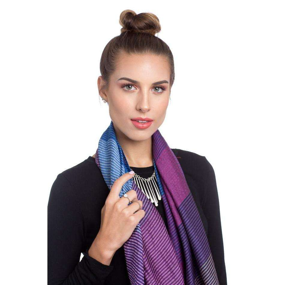 Striped MultiColor Merino Wool, Cotton, and Silk Rectangle Scarf & Shawl - Blue & Purple