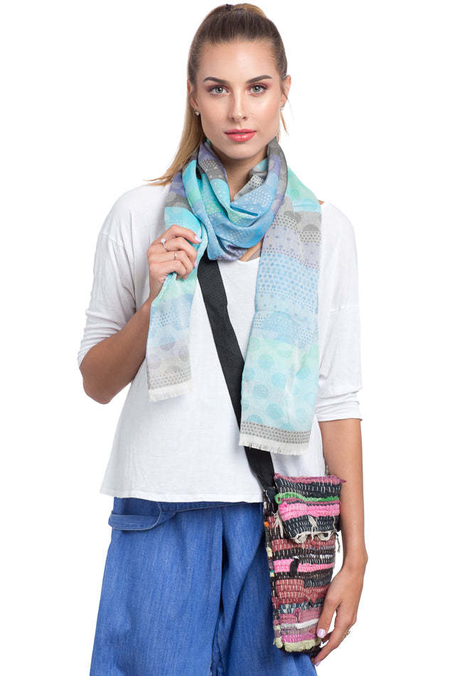 Cotton and Silk Rectangle Scarf - Blue and Green