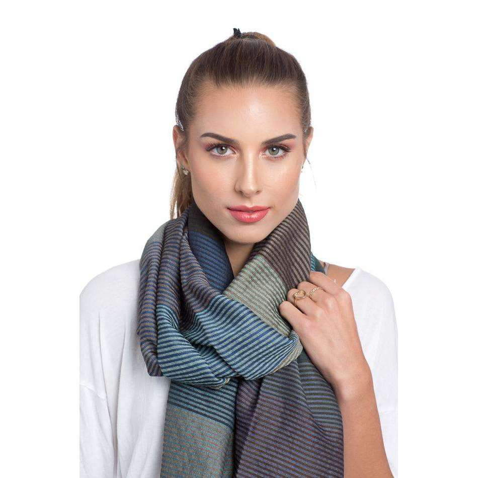 Striped Multi-Color Wool, Cotton, and Silk Scarf - Blue & Brown