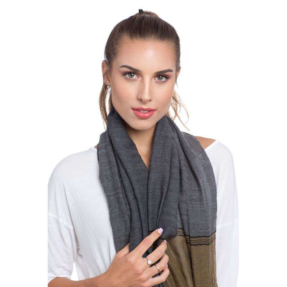 Cotton and Merino Wool Scarf & Shawl - Grey