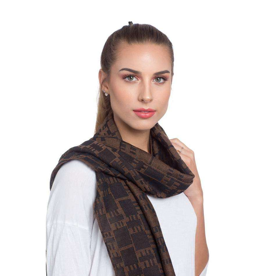Merino Wool, Cotton, and Silk Rectangle Scarf - Brown & Black