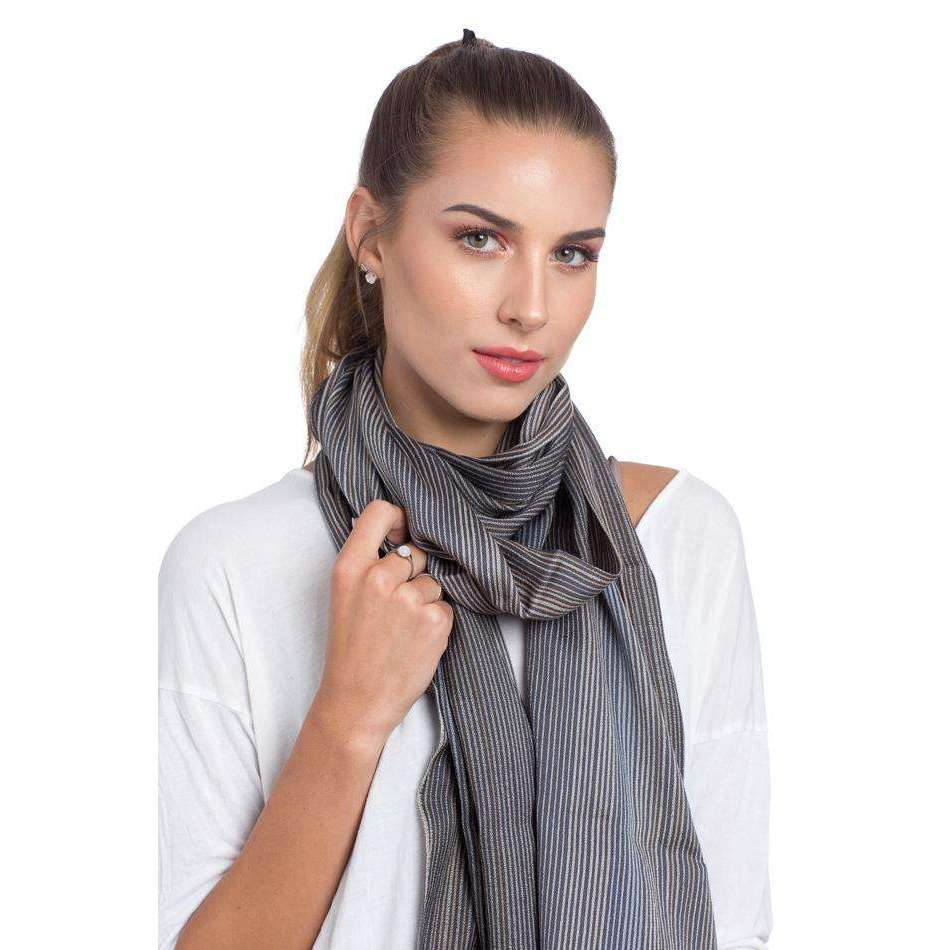 Merino Wool and Silk Rectangle Scarf - Grey