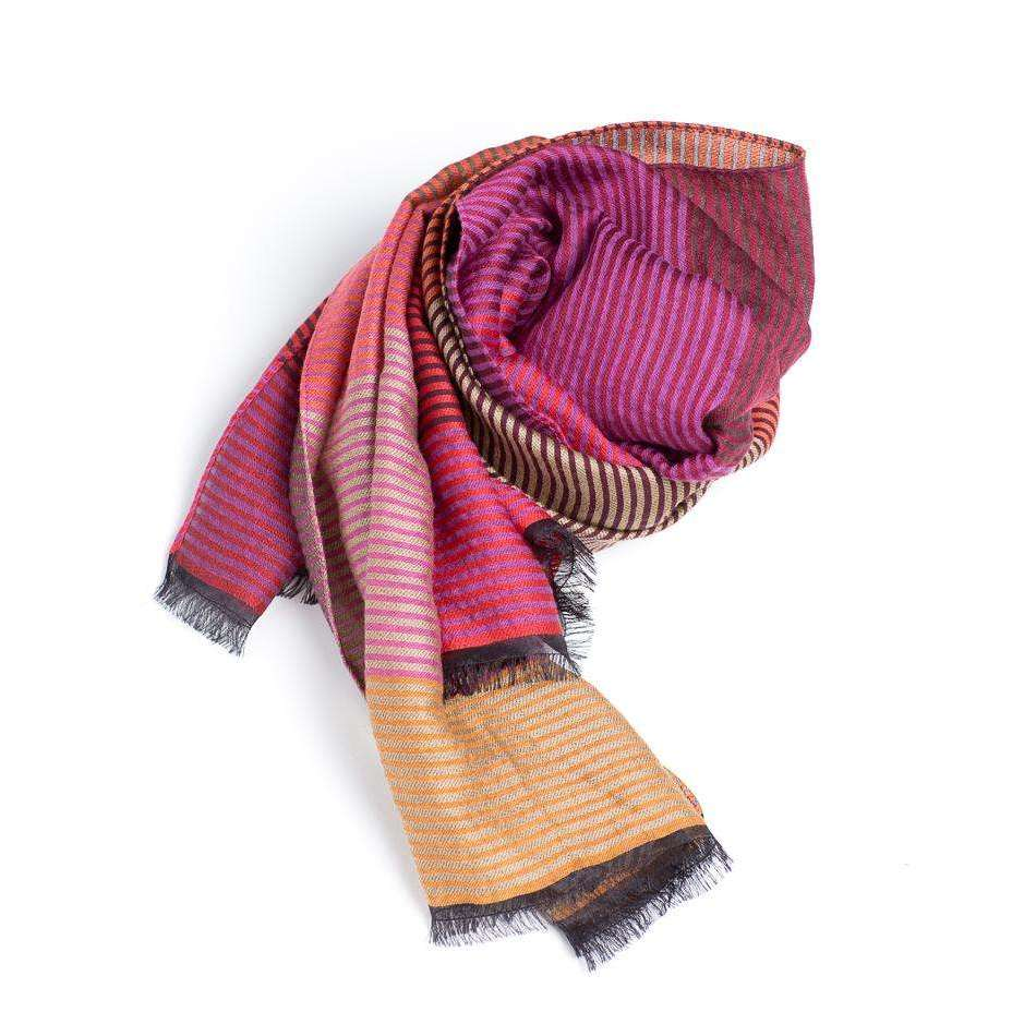 Striped MultiColor Merino Wool, Silk, and Cotton Rectangle Scarf & Shawl - Pink & Orange