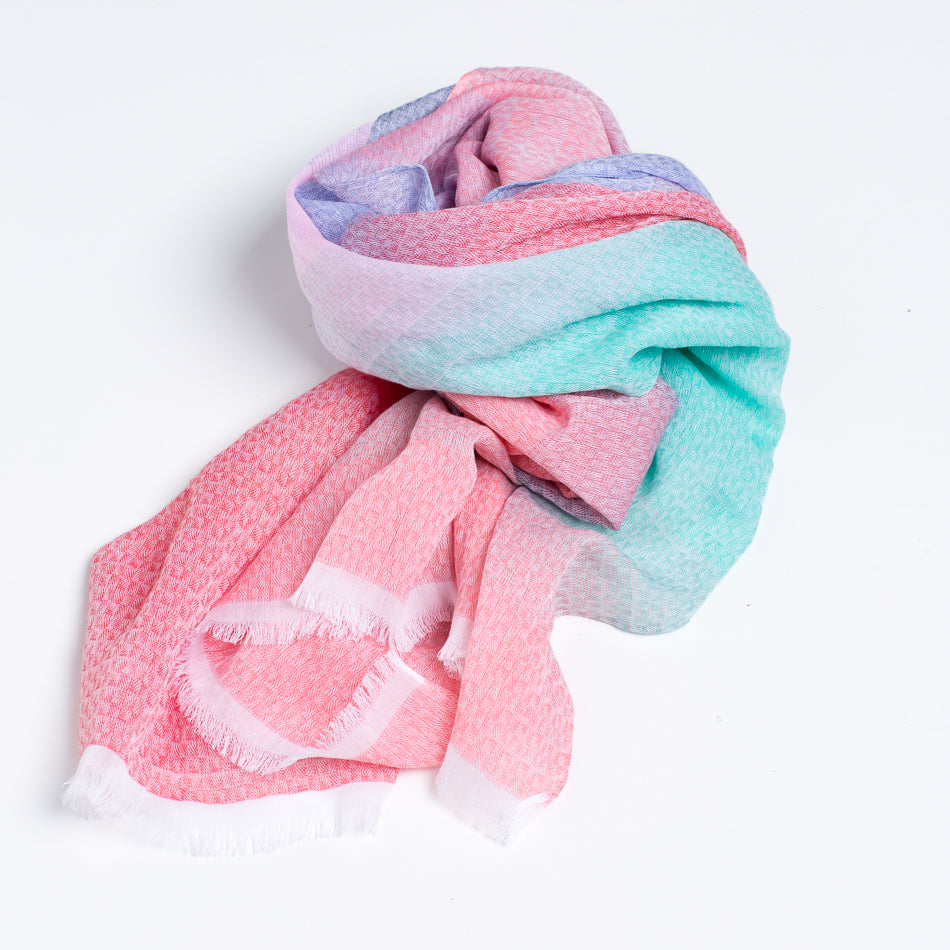 Cotton & Modal (Rayon) Scarf & Shawl - Pink & Purple