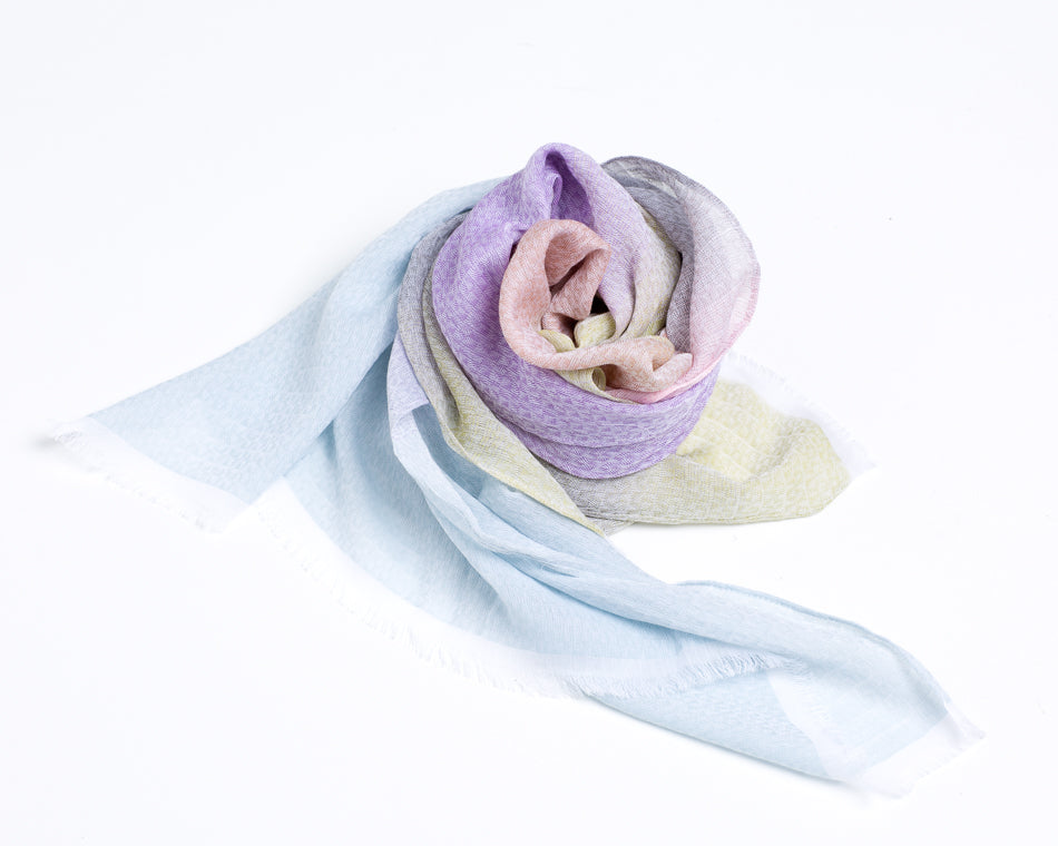 Cotton & Modal (Rayon) Rectangle Scarf & Shawl - Blue & Purple