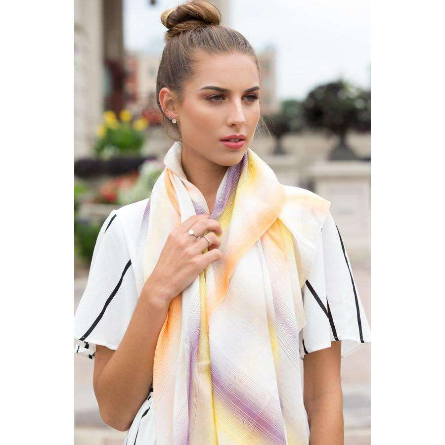 Multicolor Cotton and Silk Square Scarf - Yellow & White