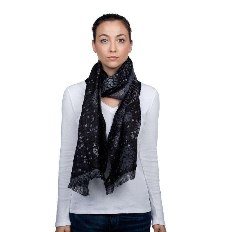 Wool and Silk Rectangle Scarf & Shawl - Black