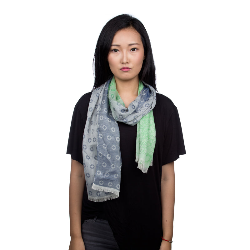 Cotton and Silk Rectangle Scarf - Green & Grey