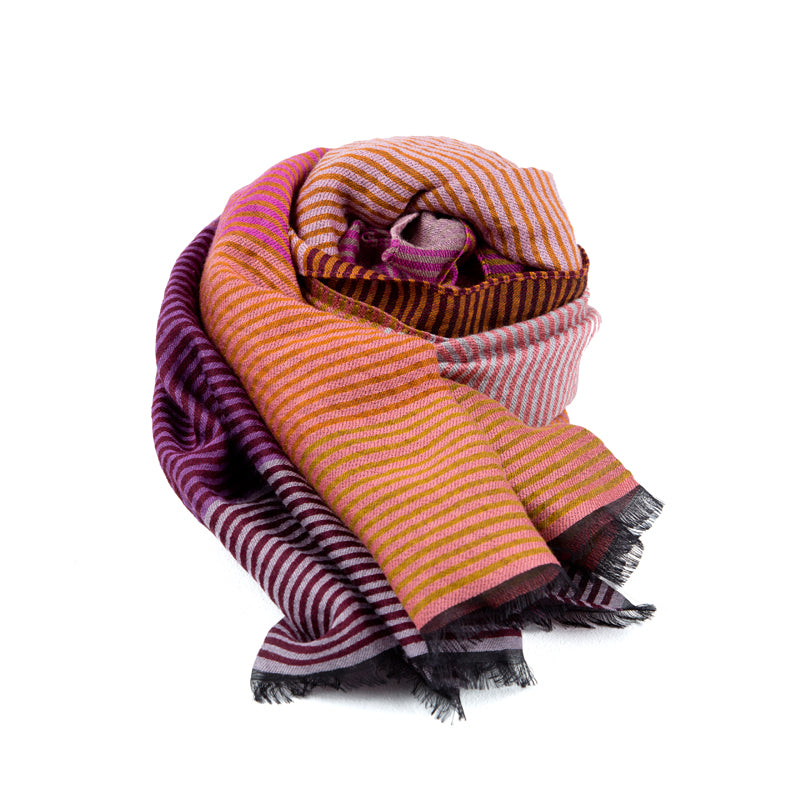 Striped Multi-Color Wool, Cotton, and Silk Scarf - Orange & Purple