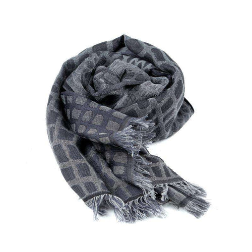 Wool, Cotton, and Silk Rectangle Scarf - Grey