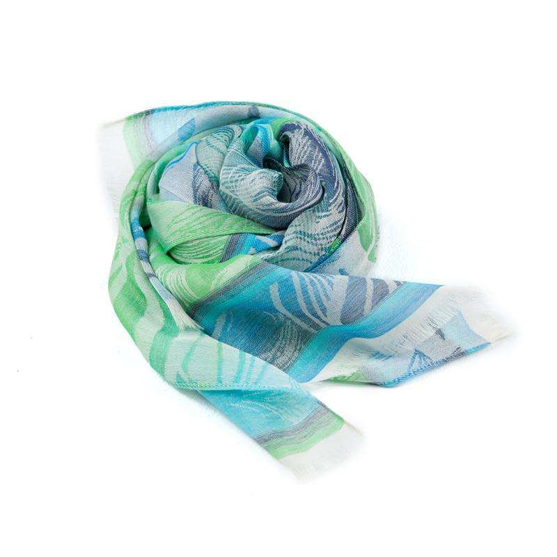 Cotton and Silk Rectangle Scarf - Blue & Green