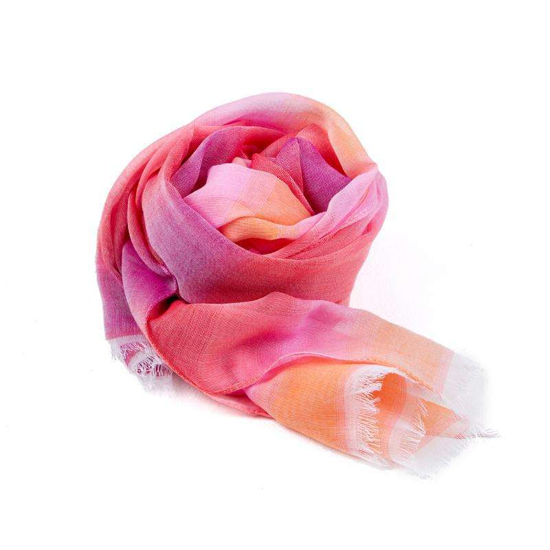 100% Cotton Rectangle Scarf - Pink & Orange