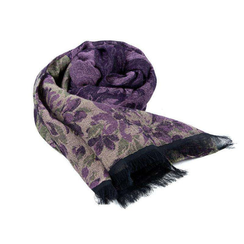 Cotton and Wool Rectangle Scarf - Purple