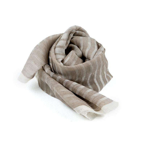 Cotton, Cashmere Wool and Silk Rectangle Scarf - Khaki
