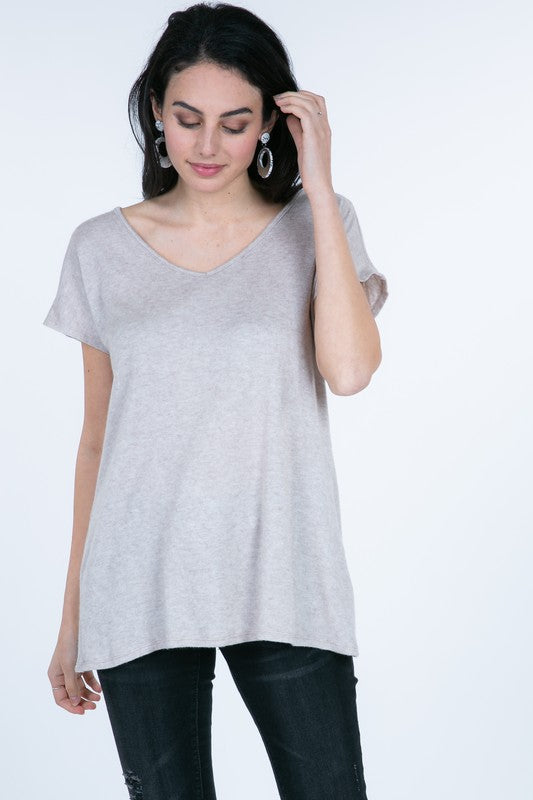 Oatmeal Twist Back Tunic Top