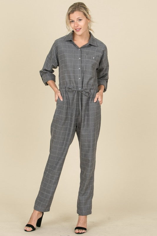 Grey Checkered Shirt Look Jumpsuit