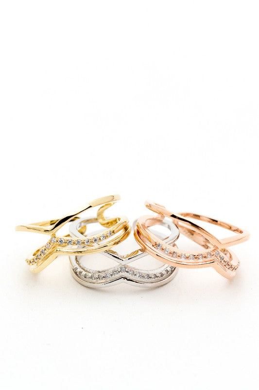 Gold Criss Cross Rhinestones Open Adjustable Ring
