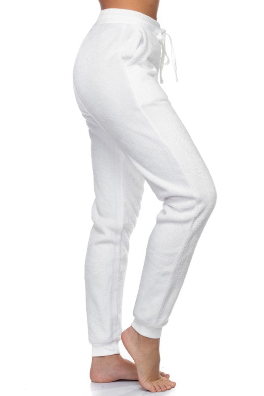 IVORY PLUSH JOGGER PANTS WITH POCKET