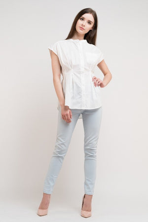 White Button Down Top Cinched Waist
