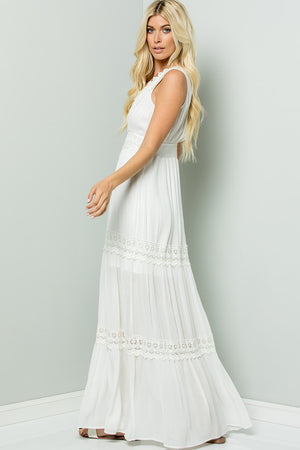 Ivory Crochet Lace Maxi Dress