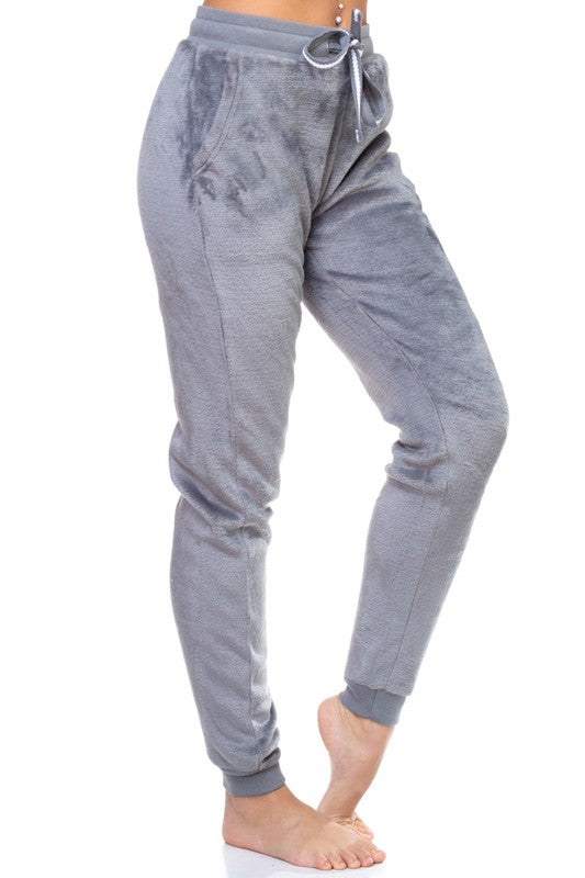 GREY PLUSH JOGGER PANTS WITH POCKET