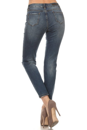 Dark Blue Distressed Cotton Jeans