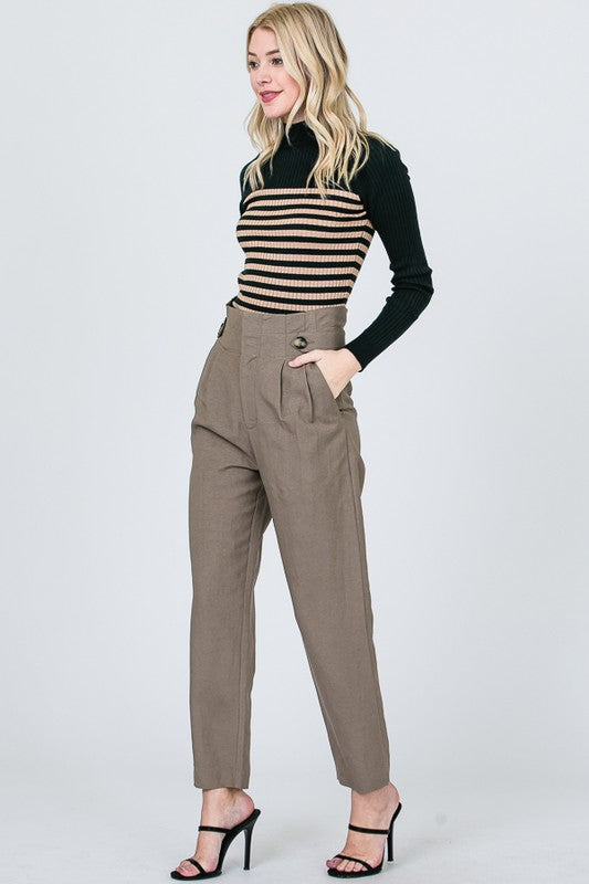 Taupe High Waist Linen Pants