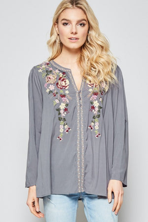 Grey Button Down Embroidered Blouse