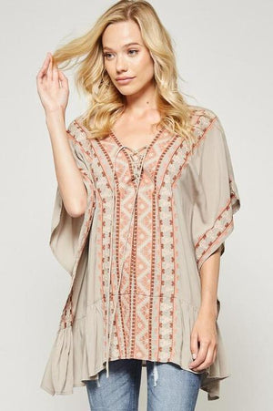 Embroidered Tunic Blouse