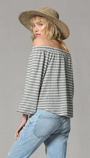 Grey/Ivory Striped Front Tie Top