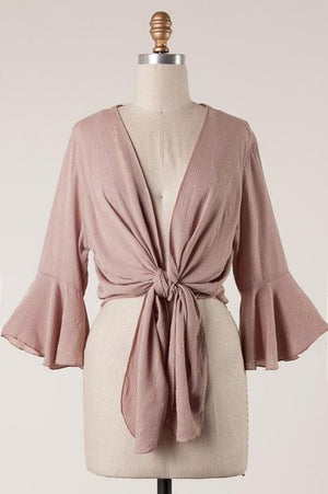 Dusty Mauve Three Quarter Sleeve Top