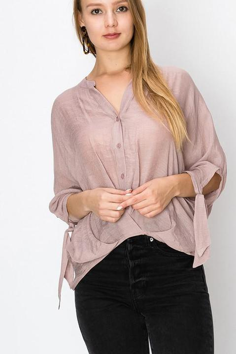 MAUVE CHINESE COLLAR BUTTON DOWN BLOUSE