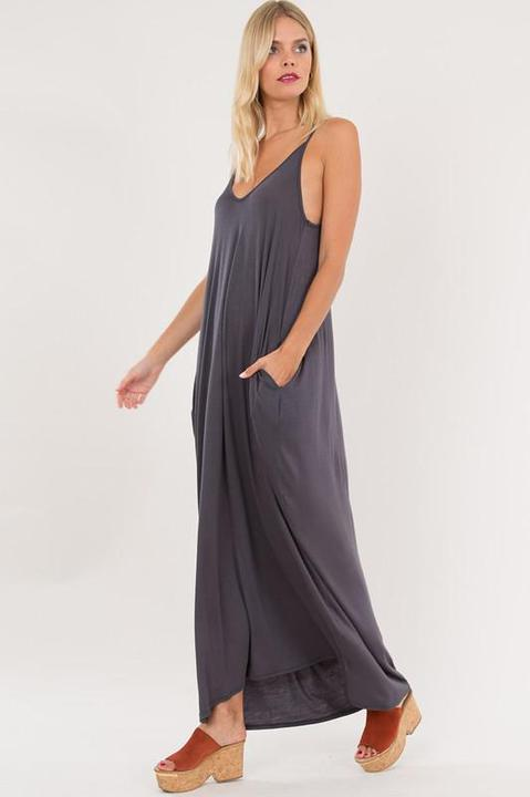 Grey Strapless Maxxi Dress