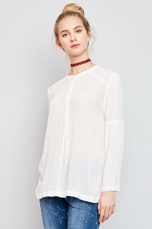 Off White Bell Sleeved Button Top
