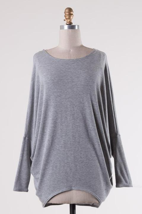 Grey Dropped Shoulder Long Sleeve Knit Tunic