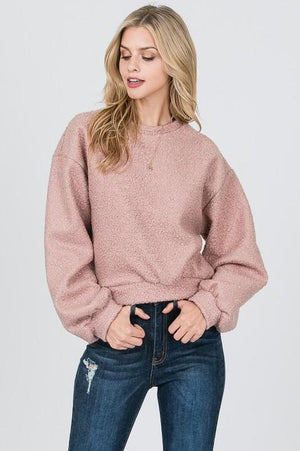 MAUVE TEDDY BEAR SWEATSHIRT TOP