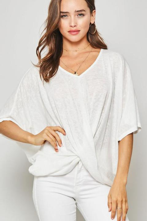 White Burnout Knit Twist Top