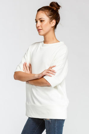 Off White Loose Fit Short Sleeve Top