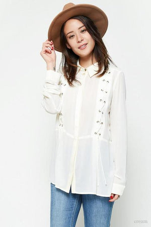 Cream Lace-Up  Button Up Top