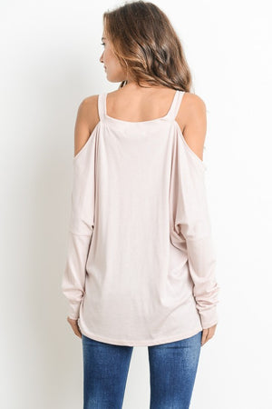 Light Pink Oversize Graphic Cold Shoulder Top