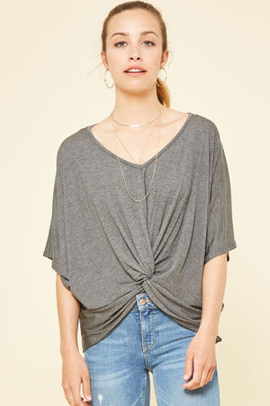 Charcoal Knotted Knit Top