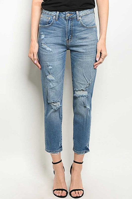 LIGHT BLUE POCKET DETAILED DISTRESSED BLUE DENIM JEANS
