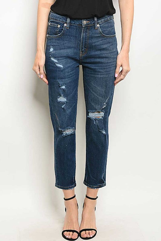 Blue Mid Rise Denim Washed Jeans