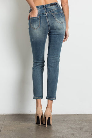 Medium Blue Mid Rise Ripped Jeans