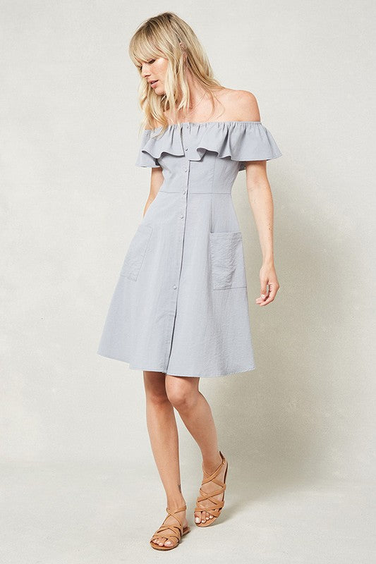 Cloud Blue Ruffled Off The Shoulder Dress With Button Front