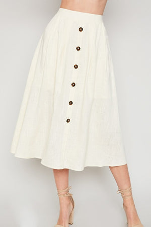 Vanilla Button-Down Linen Blend Midi Skirt