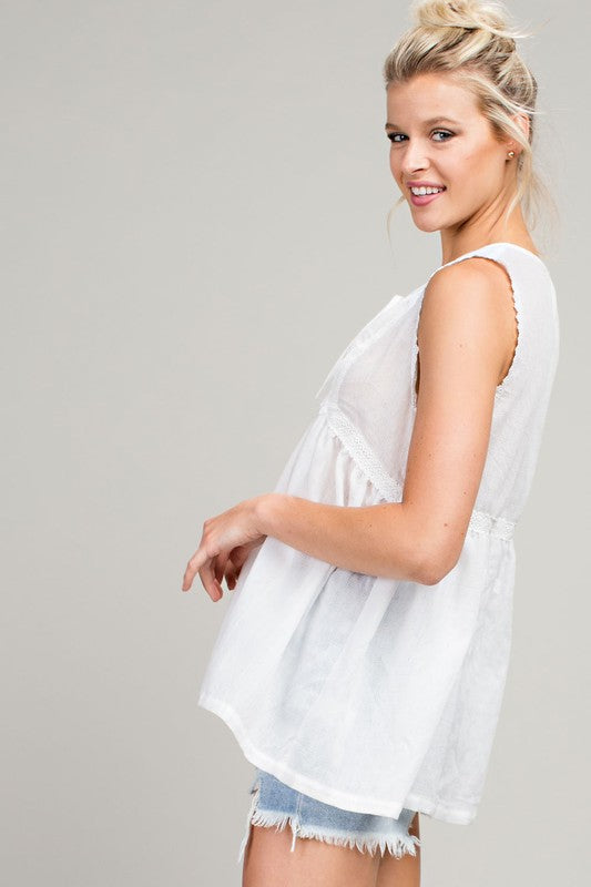 Cream Lace Insert Sleeveless Top