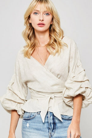 Taupe Linen Top