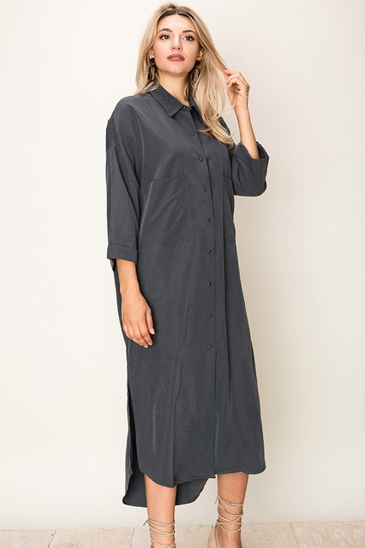 GRAY BUTTON DOWN OVERSIZE T SHIRT DRESS